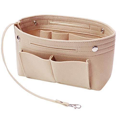 Soyizom Filz Handtasche Organizer Bag in Bag,Innentaschen für Handtaschen Organizer mit Schlüsselkette für Speedy Neverfull,8 Farben(Beige,Klein)