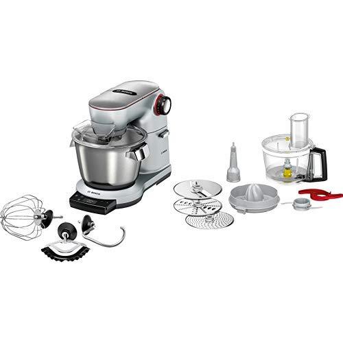 Bosch MUM9AX5S00 OptiMUM Küchenmaschine (1500 W, 3 Profi-Rührwerkzeuge Edelstahl, spülmaschinenfest, integrierte Waage, Automatikprogramm) silber & Bosch MUZ9VLP1 Lifestyle Set VeggieLove Plus