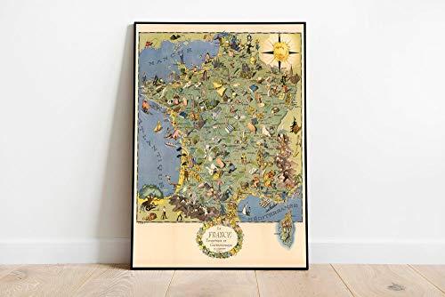 MG global Mapa gastronómico y turístico de Francia | Galería | Arte de pared Francia | Cuadro desplegable | Póster | Cartel – Arte de pared sin marco