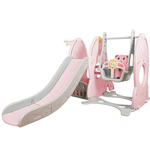 MYRCLMY Tobogán infantil interior pequeño columpio hogar bebé juguete cuatro en uno multifunción diapositiva swing combinación juguete plástico engrosamiento hogar 1-6 años de edad, rosa
