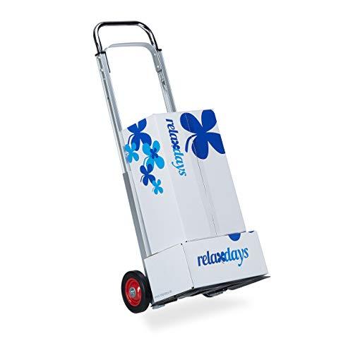 Relaxdays Sackkarre bis 200 kg Traglast, multifunktionale Transportkarre, leicht, Profi, Metall, silber