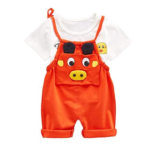 Baby-Outfit Cartoon Schwein Latzhose insgesamt Stap Hose und T-Shirt Top für Junge Mädchen