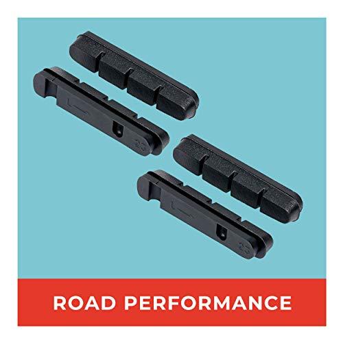 Road Bremsschuhe Ersatzbeläge 2 Paar 55mm I Ideal für Rennrad Touren I Austauschbare Bremsgummis I Langlebige & Passgenaue Bremsbeläge