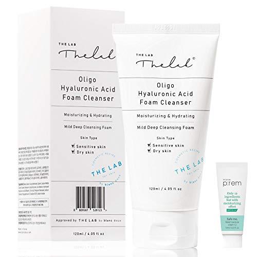 Blanc Doux Oligo Hyaluronic Acid Facial Foam Deep Hydrating Cleanser 4.05 fl. oz. for Dry, Sensitive Skin VEGAN Certified Deeply Moisturizing Face Wash | K-Beauty Korean Skin Care