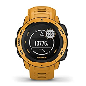 Garmin Instinct (Sunburst) Outdoor GPS Watch Power Bundle   with HD Screen Protector Film Pack & PlayBetter Portable Charger   Rugged, Waterproof   Heart Rate, TrackBack   Ultimate Outdoorsman Watch