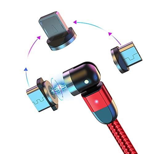Cable de Carga magnético Cable USB con imán 3 en 1 Cable de Carga Giratorio 360°+180° 2.4A Cable magnético Trenzado de Nylon 1M/2M/3M Compatible con Micro USB,Tipo C/USB C,Phone,Dispositivos