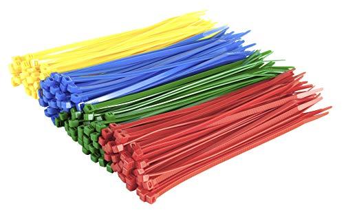 Gocableties - Confezione da 200 fascette stringicavo, in nylon resistente, di alta qualità, colore: rosso, verde, blu e giallo