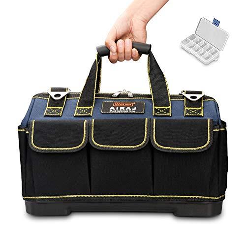 AIRAJ 36×21×26cm Borsa Attrezzi Impermeabile con Base Sagomata e Tracolla Regolabile,Borsa Porta Attrezzi Impermeabile,Grande Capacità,Borsa Attrezzi per Elettricisti da Uomo