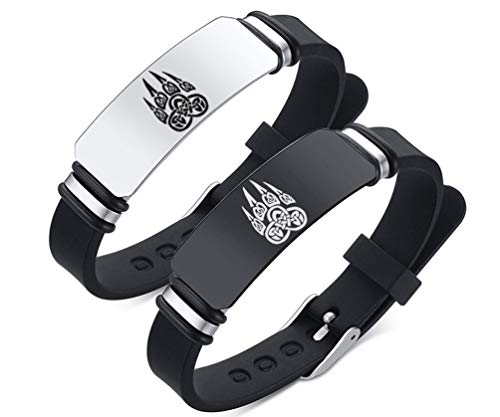 ZDBDH 2 Pack-Norse Mythology Nordic Celtic Viking Berserkers Bear Paw Print Silicone Bracelet Stainless Steel Tag Rubber Outdoor Sport Adjustable Cuff Bracelet Wristband for Boy Girl