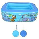 Maquer Piscina grande de dinosaurios de dibujos animados de 59 pulgadas, piscina inflable portátil para el hogar, piscina rectangular con fondo de burbuja para exteriores, patio trasero, familia, azul