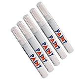Longzhuo - Pennarello per Pneumatici Auto, Impermeabile, 5 Pezzi, Colore: Bianco
