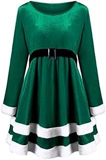 SDJYH Navidad Manga Larga Cuello Redondo cinturón Terciopelo Costura Media Longitud Gran Swing Vestido