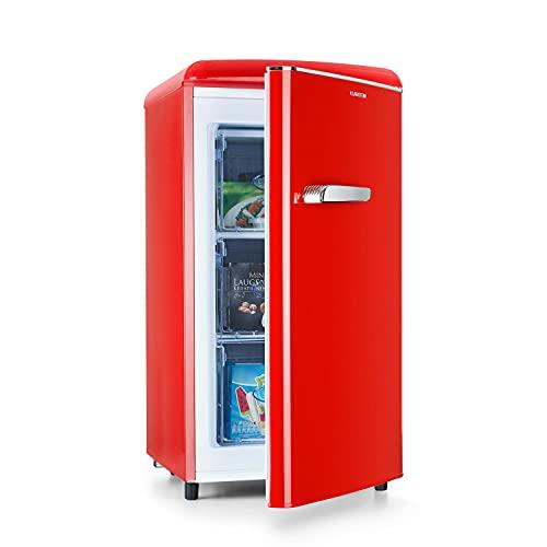 Klarstein Laika Gefrierschrank - 60 Liter Gesamtvolumen, Thermostat mit 5 Stufen, 0 bis -18 °C, 3 Einschübe, freistehend, Retro-Design, rot