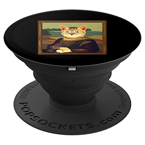 Funny Meowna Mona Lisa Art Cat Parody PopSockets Grip and Stand for Phones and Tablets