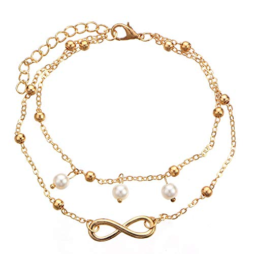 OMTBEL STOOLY Fashionable Beach Anklet with Artificial Pearl, Adjustable,Boho Starfish Anklet Vintage Ankle Bracelet for Women Buddha Foot Jewelry Summer Barefoot Beach Anklet (Silver)