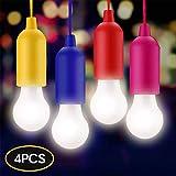 KINDAX 4pcs Lampade LED Campeggio, Luce LED per Tenda Luce da Emergenza Portabile per Giardino,Scrivania,Armadio,Campeggio,Pesca, Barbecue