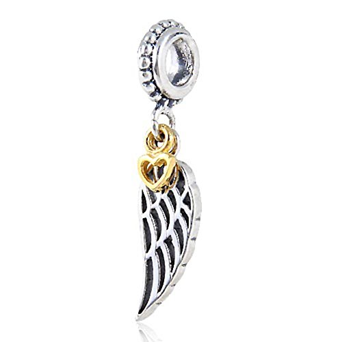 Golden Love Hart Wing Dangle Charm hanger Authentieke 925 sterling zilveren bedels voor Europese bedelarmband