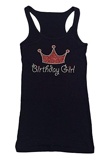 Womens Fashion T-Shirt with Pink Birthday Girl Crown in Rhinestone (3X, Black Tank Top)
