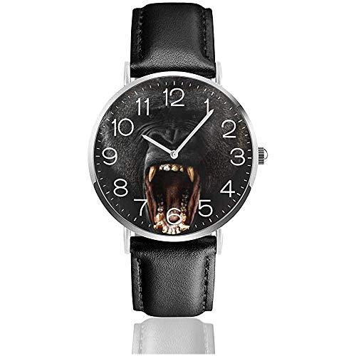 Lederuhr Casual Armbanduhren für Unisex, Modeuhren Gorilla Uhr
