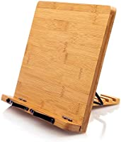 Bamboo Book Stand, Cookbook Holder Desk Reading with 5 Adjustable Height, Foldable and Portable Kitchen Wooden Cooking...