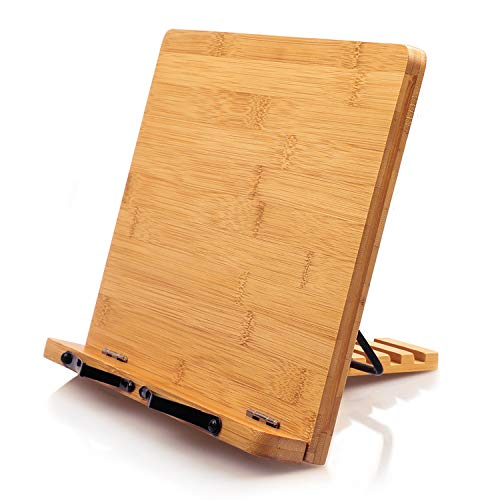 Bamboo Book Stand, Cookbook Holder Desk Reading with 5 Adjustable Height, Foldable and Portable Kitchen Wooden Cooking Bookstands for Textbook, Recipe, Magazine, Laptop, Tablet by Pipishell