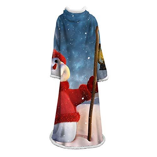 FUFU Mantas y mantitas Manta portátil for adultos y niños Sherpa Navidad manta con mangas, super suave caliente Fuzzy temático cómodo de lana de oveja Mantas Fleece Reversible felpa de Navidad Manta T