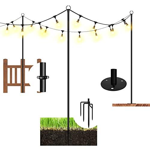 Danshinro String Light Poles for Outdoor,3 Functions Light...