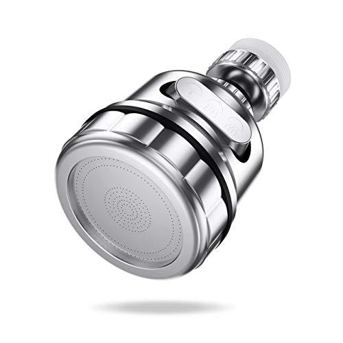 LEPO Aireador de Grifo, Cabezal Giratorio Giratorio de 360 Grados, Tamiz Ahorrador de Agua, Regulador de Chorro, Boquilla Mezcladora de Doble Función, Adecuada para Cocina/Baño