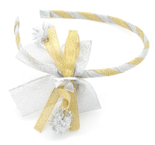 Christmas Gold & Silver Ribbon Bow Alice Band Hair Accessories by Zest by Zest