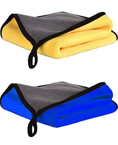 Toalla Secado Coche, 30x40CM Bayetas Limpieza de Microfibra, Paños de Microfibra Coche Super Absorbente, Set de 2