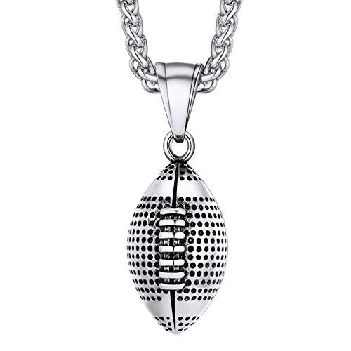 PROSTEEL Herren Kette Edelstahl Amerikanischer Fußball Anhänger Halskette 3D Rugby mit 60cm Weizenkette sportlich Collier Modeschmuck Accessoire Geschenk für Männer Jungen