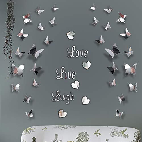 Ohiyoo DIY Spiegel Schmetterling Aufkleber, Love Live Laugh Schmetterling Wand Buchstaben Schmetterling 3D Spiegel Wand Aufkleber Hause Dekoration Abziehbild (Silber)