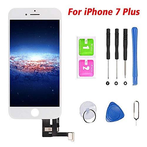 Hoonyer Pantalla para iPhone 7 Plus Pantalla táctil LCD Kit de Pantalla de Vidrio Desmontaje Repuesto Ensamblaje de Marco Digitalizador Herramienta de reemplazo de conversión Completa(Blanco)