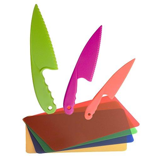 GarMills Ensemble de 3 Couteaux de Cuisine en Plastique pour Enfants, des Couteaux de Cuisine en Nylon Sûrs, pour Les Salades ou Gâteaux avec Planche A Découper en Plastique Souple Jeu De 4.