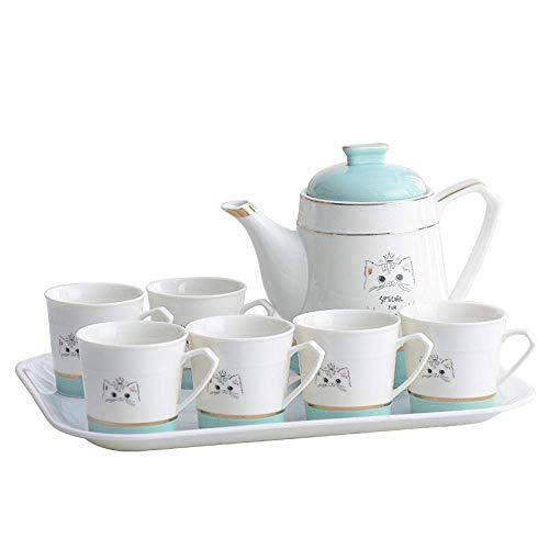 HKX Juego de té de Porcelana, Juego de Taza y platillo, Juego de Tetera de cerámica, cafetera, Taza, hervidor frío Grande, hervidor de té de Alta Temperatura para el hogar