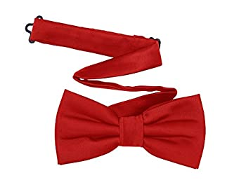 TINYHI Men s Pre-Tied Satin Formal Tuxedo Bowtie Adjustable Length Satin Bow Tie Red One Size