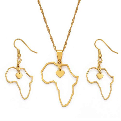 quanjiafu Necklace African Heart Map Pendants Necklaces & Earrings Africa Maps Jewelry Sets Stainless Steel African Ethnic Ornaments Length 60Cm Thin Chain Necklace