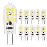DiCUNO 10-Pack G4 1.5W LED Bulbo,180LM, bombillas de iluminación equivalentes a 20W halógenas, luz diurna 6000K blanco, no regulable, reemplazo para la iluminación de la cocina, luces de señalización