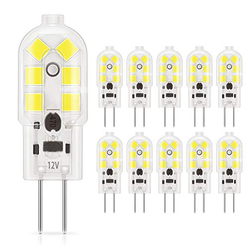 DiCUNO lampadina 10-Pack G4 1.5W LED, 180LM, AC/DC 12V lampadine Equivalente a 20W, Bianco freddo 6000K, non dimmerabile, ricambio per Cooker Illuminazione, Luci di segnalazione