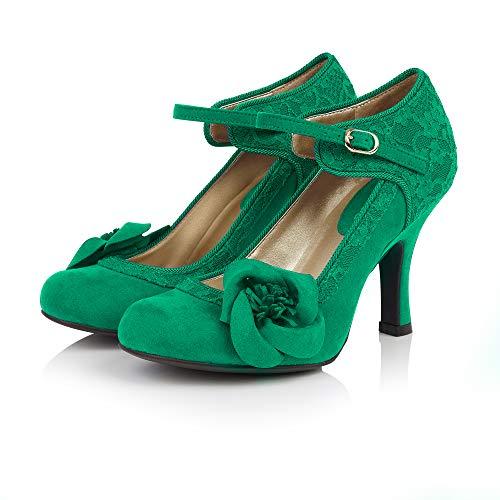 Ruby Shoo Belle Divino Exclusivo Anna Royal Blue Lace Mary Jane, color Verde, talla 38 EU