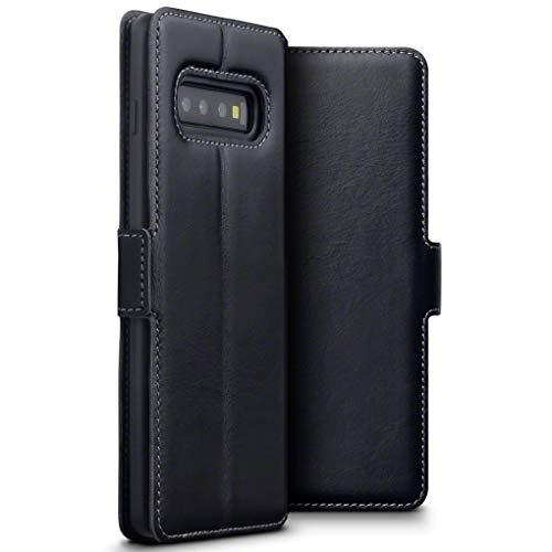 TERRAPIN, Kompatibel mit Samsung Galaxy S10 Plus Hülle, Premium ECHT Spaltleder Flip Handyhülle Samsung Galaxy S10 Plus Tasche Schutzhülle - Schwarz