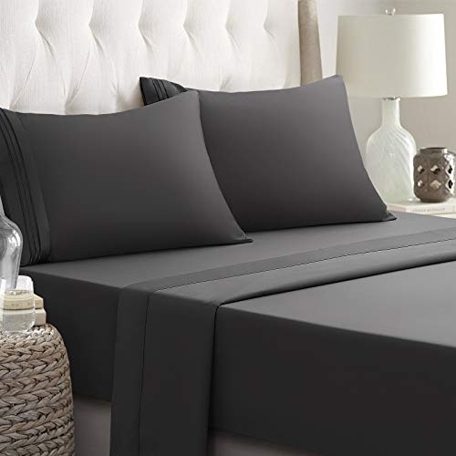 RYONGII California King Size Sheet Set - 4 Piece - Super Soft Microfiber Bed Sheets - Fade Resistant Hotel Luxury Bedding - Hypoallergenic – Wrinkle Resistant - Deep Pocket(Dark Gray, California King)