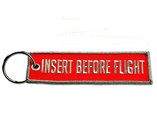 BASTION Embroidered Keychain (Insert Before Flight, Red and Gray)   Tag Key Ring for Car Motorcycles Bike SUV Truck ATV  Tactical Key Chain Ideal for Backpack Luggage Men's Novelty