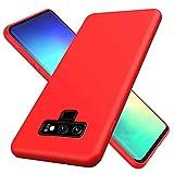NiaCoCo Compatible con Samsung Galaxy Note 9 Funda Silicona Líquida Ultrafina Carcasa de Telefono Gel Goma Suave Tela Bumper Shockproof Resistente a Los Arañazos Cover(Rojo)