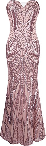 Angel-fashions Mujer Muescas en la Columna sin Tirantes Paillette del Piso de la Envoltura del Vestido de Cuerpo Entero X-Large Rosa