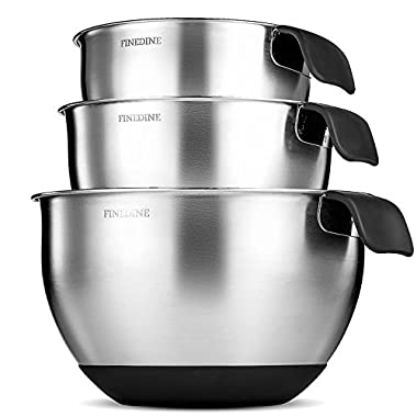 FineDine Stainless Steel Mixing Bowls - (Set of 3) Nesting Bowls, 18/8 Stainless Steel Kitchen Prep & Serving Bowls, With Rubber Grip Handle, Easy Pour Spout and Non Skid Bottom & Measurement Markings