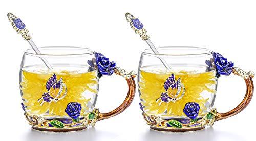 COAWG Glass Mug Set 2-Pack, 11oz Lead-Free Handmade Enamel Butterfly and Blue Rose Flower Tea Cups with Spoon Madam Lady Graduation Girl