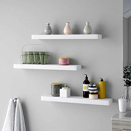 23-Inch Modern Industrial Metal and Torched Wood Adjustable Wall Mounted 3-Tier Display Floating Shelf