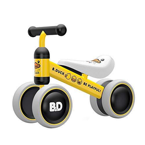 XIAPIA Kinder Laufrad Spielzeug für 10 - 24 Monate Baby, Lauflernrad mit 4 Räder, Erst Rutschrad Fahrrad für Jungen/Mädchen als Geschenke für 1 Jahr Alt (Gelb Ente)