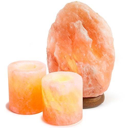Natural Himalayan Salt Lamp w  Salt Candle Holders